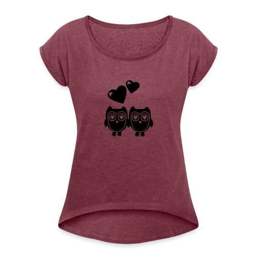 verliebte Eulen - Frauen T-Shirt mit gerollten Ärmeln