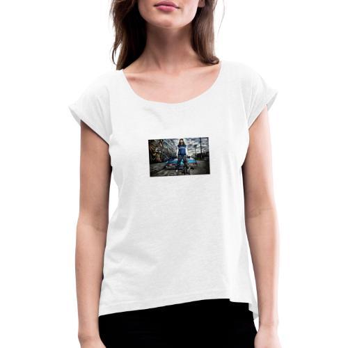87401 - Frauen T-Shirt mit gerollten Ärmeln