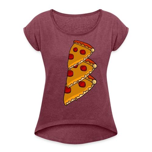 pizza - Dame T-shirt med rulleærmer
