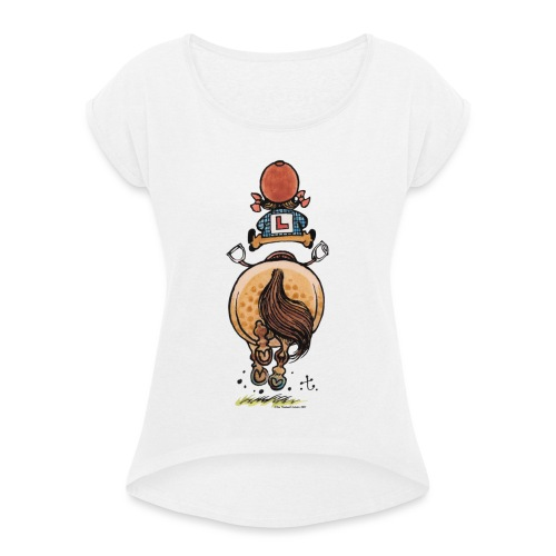 Thelwell Funny Riding Beginner Illustration - Women's T-Shirt with rolled up sleeves
