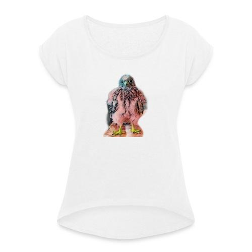 Pink bird growing 2 - Frauen T-Shirt mit gerollten Ärmeln
