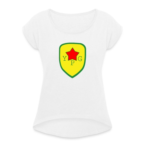 Unisex Red YPG Support Hoodie - Naisten T-paita, jossa rullatut hihat