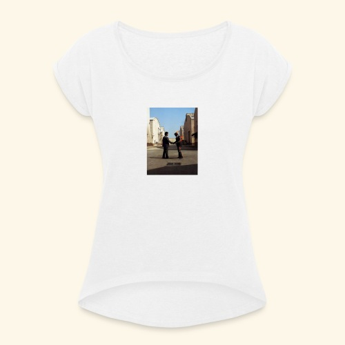 wish you were here design - Vrouwen T-shirt met opgerolde mouwen