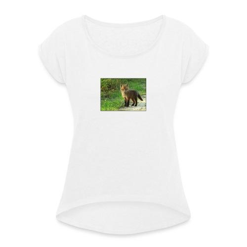 vossen shirt kind - Vrouwen T-shirt met opgerolde mouwen