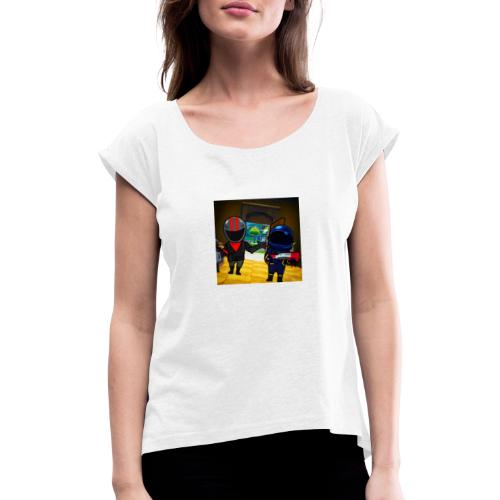 gg - T-shirt med upprullade ärmar dam