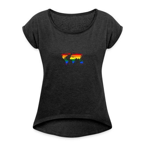HBTQ WORLD - T-shirt med upprullade ärmar dam