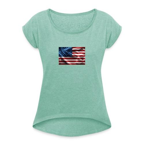 amerikaanse vlag - Vrouwen T-shirt met opgerolde mouwen