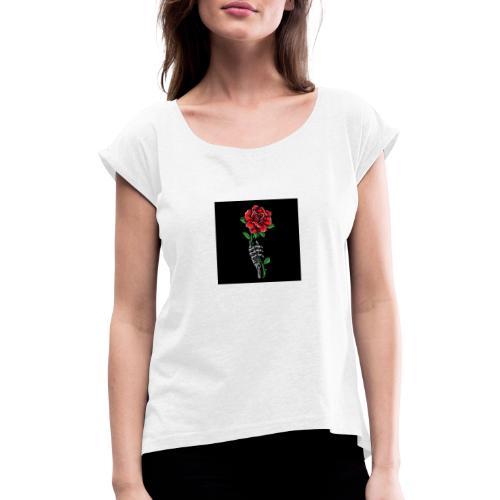 rosas - Camiseta con manga enrollada mujer