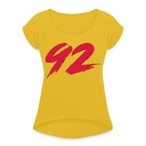 92 Logo 1 - Frauen T-Shirt mit gerollten Ärmeln
