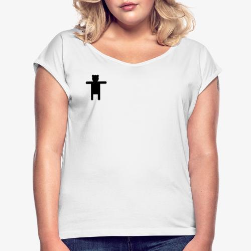 Ippis Entertainment, Black - Naisten T-paita, jossa rullatut hihat