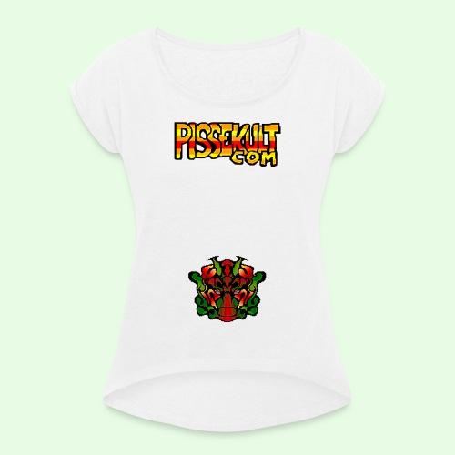 pisselogo - T-skjorte med rulleermer for kvinner