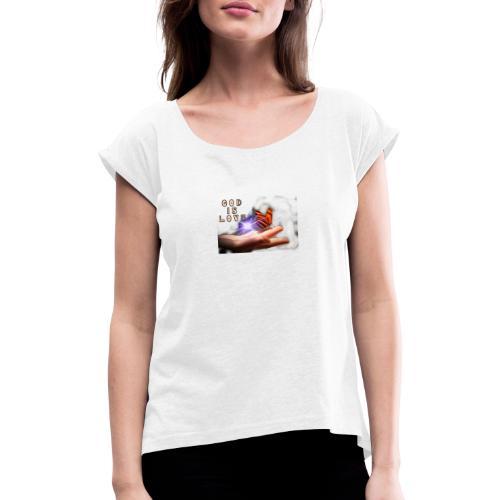 3CAE1CD5 8929 4123 8BBE CFF870730923 - Dame T-shirt med rulleærmer
