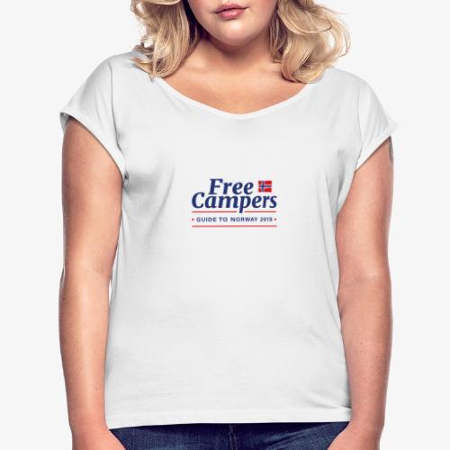 FreeCampersLogo - T-skjorte med rulleermer for kvinner