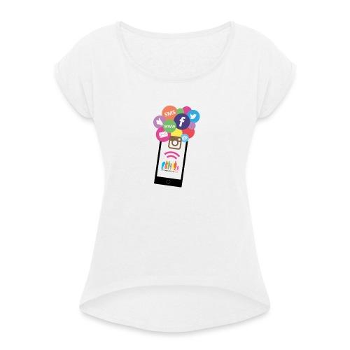 Premium t-shirt, tonåring, sociala medier - T-shirt med upprullade ärmar dam