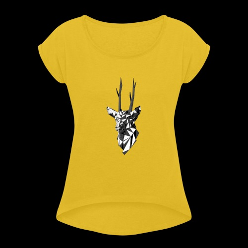 Polygoon Hert - Vrouwen T-shirt met opgerolde mouwen