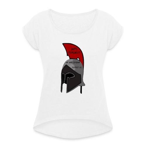 Casque spartiate anti-féministe rouge et noir - T-shirt à manches retroussées Femme