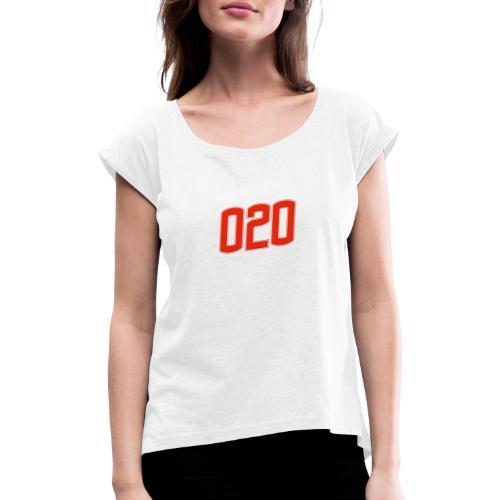 020 - Vrouwen T-shirt met opgerolde mouwen