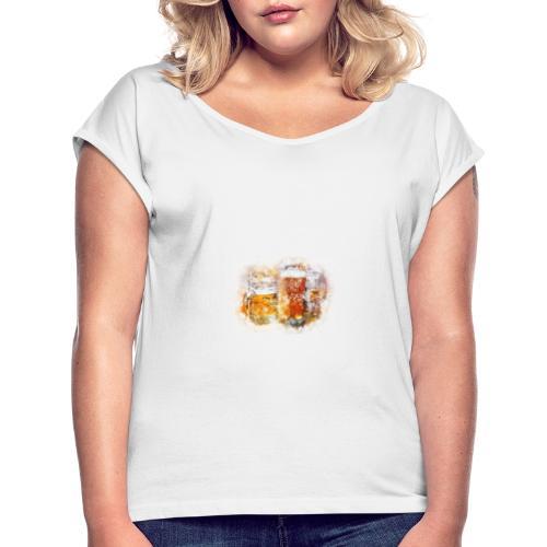 Biermotiv - Frauen T-Shirt mit gerollten Ärmeln