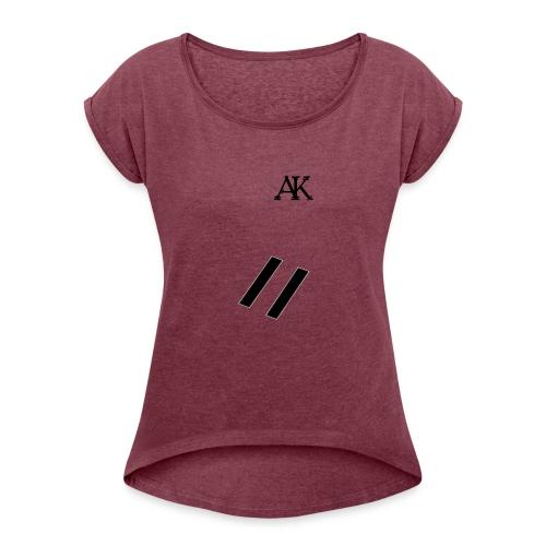 design tee - Vrouwen T-shirt met opgerolde mouwen