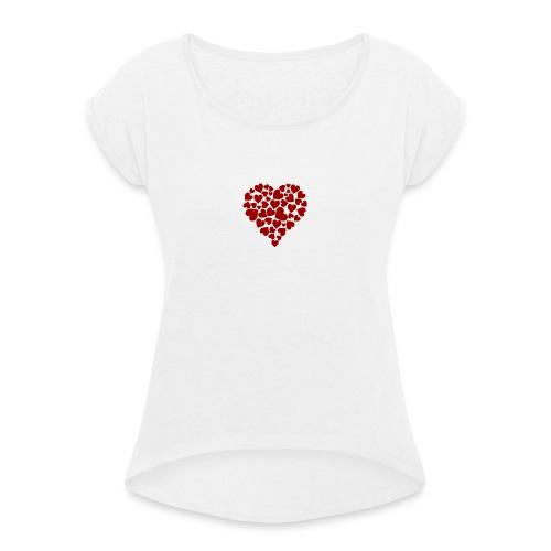 Corazoncitos - Camiseta con manga enrollada mujer