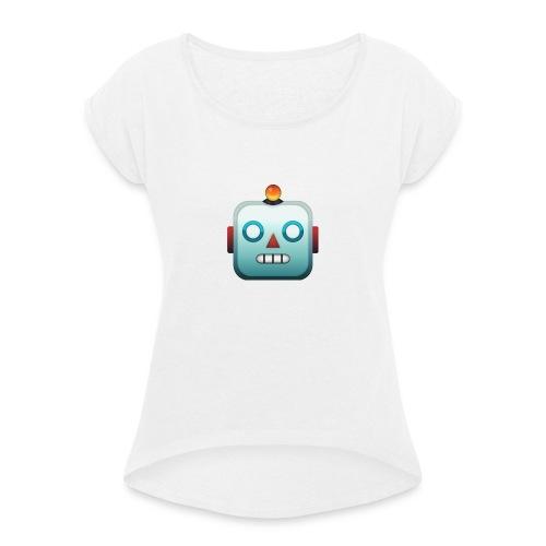 Robot Emoji - Vrouwen T-shirt met opgerolde mouwen