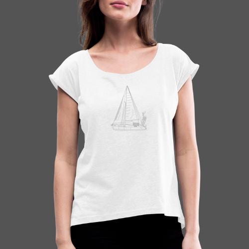 Zeichnung Segelboot Segel hoch - Frauen T-Shirt mit gerollten Ärmeln