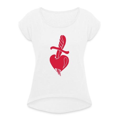 Broken Hearts Love Hate Tattoo Knife blood dagger - Frauen T-Shirt mit gerollten Ärmeln