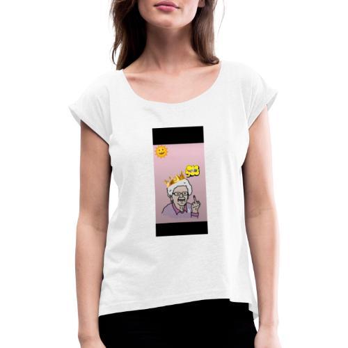 Crazy Grandma - Frauen T-Shirt mit gerollten Ärmeln