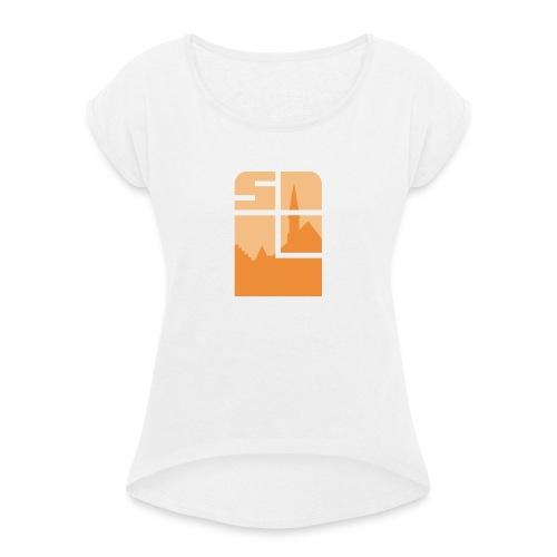Logo-VZW-Sint-Lodewijk-jpg - Vrouwen T-shirt met opgerolde mouwen
