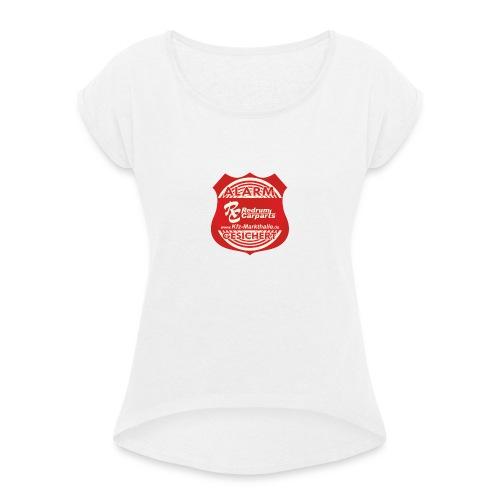 Alarmgesicher Textil - Frauen T-Shirt mit gerollten Ärmeln