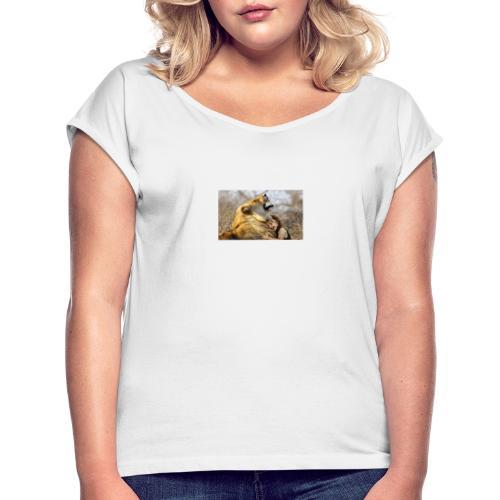 lion en éveil d'amour - T-shirt à manches retroussées Femme