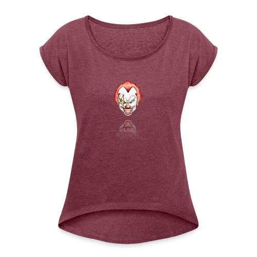 clown-png - Vrouwen T-shirt met opgerolde mouwen