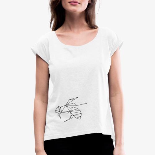 Biene Wespe - Frauen T-Shirt mit gerollten Ärmeln