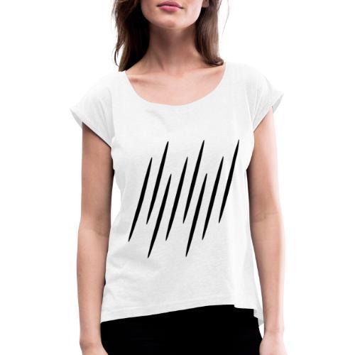 Kleine Schwarze Streifen - Frauen T-Shirt mit gerollten Ärmeln