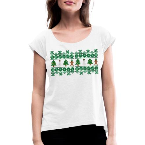 Norweger-Muster Weihnachtsfreude - Frauen T-Shirt mit gerollten Ärmeln