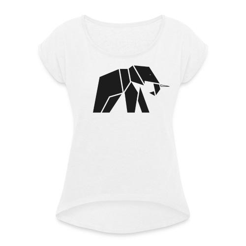Schönes Elefanten Design für Elefanten Fans - Frauen T-Shirt mit gerollten Ärmeln