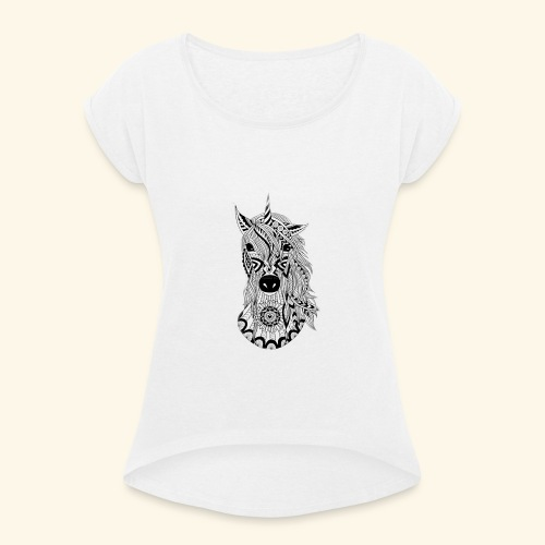 Unicornio - Camiseta con manga enrollada mujer