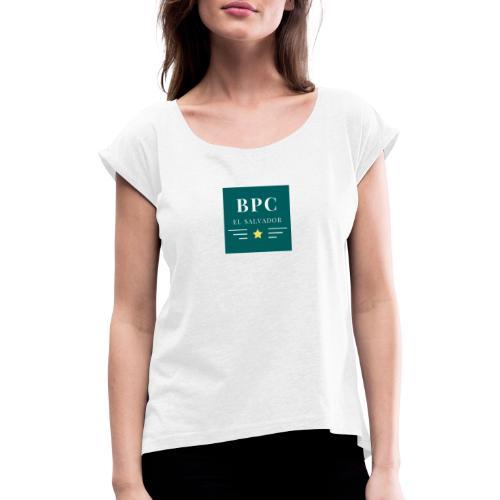 Dark Green Lines and Stars Political Logo - Camiseta con manga enrollada mujer