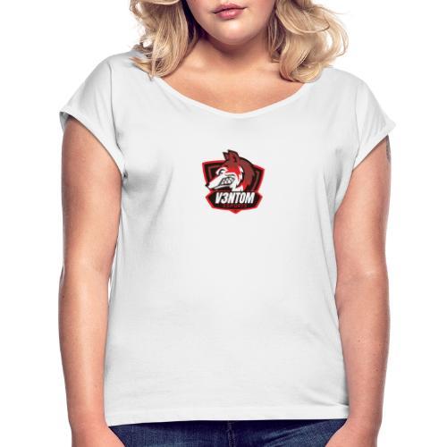 CLAN LOGO V3NTOM - Frauen T-Shirt mit gerollten Ärmeln