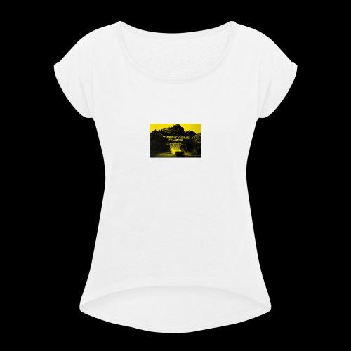 top - Camiseta con manga enrollada mujer