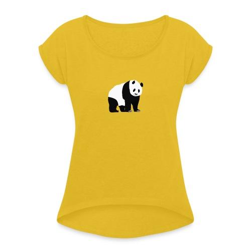 Panda - Naisten T-paita, jossa rullatut hihat