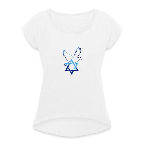 Shalom I - Frauen T-Shirt mit gerollten Ärmeln