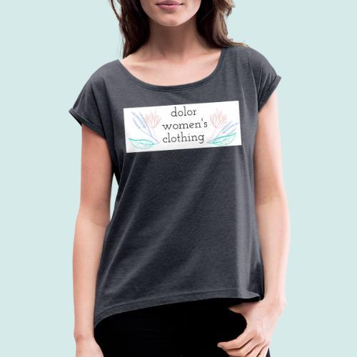 Kleidung für Frauen - Frauen T-Shirt mit gerollten Ärmeln