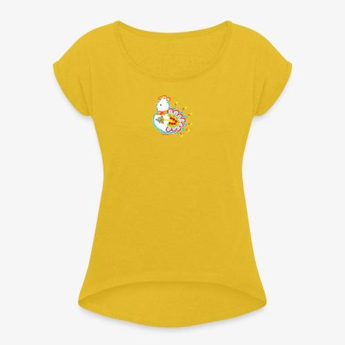 Vogel neon bunt - Frauen T-Shirt mit gerollten Ärmeln