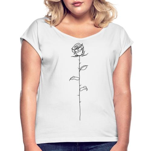 Black Rose - Women's T-Shirt with rolled up sleeves