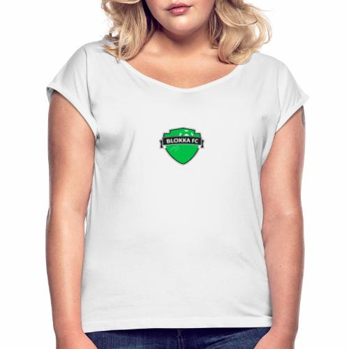 Blokka FC - Grønn logo - T-skjorte med rulleermer for kvinner