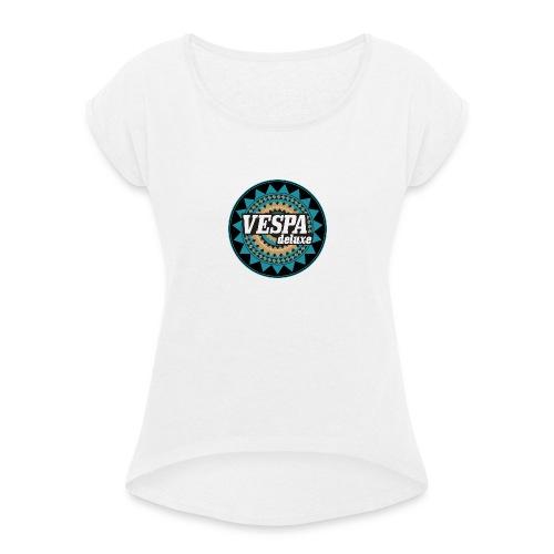 vespadeluxestickerrund trans - Frauen T-Shirt mit gerollten Ärmeln