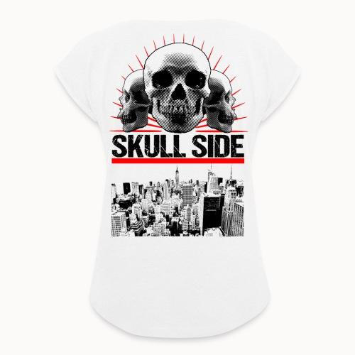 skull side city - Frauen T-Shirt mit gerollten Ärmeln