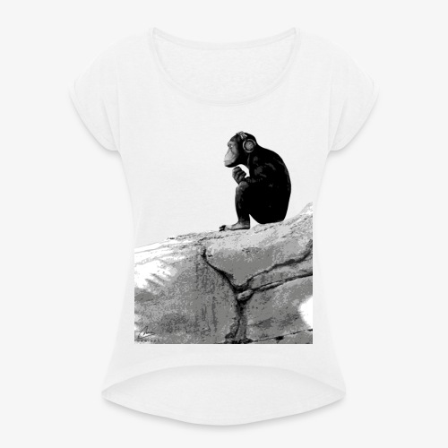 Music Monkey - Women's T-Shirt with rolled up sleeves