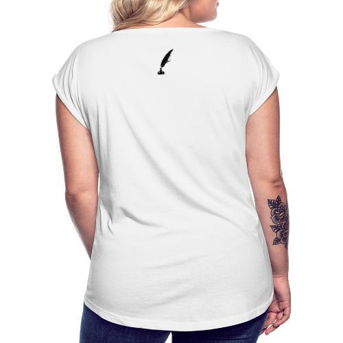 vintage feder - Frauen T-Shirt mit gerollten Ärmeln